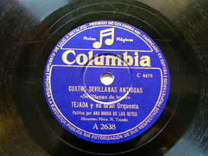 TEJADA Columbia A2638 FLAMENCO 78rpm CUATRO SEVILLANAS