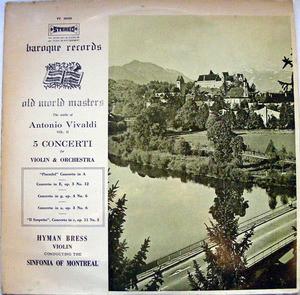 Rare HYMAN BRESS Baroque BUS 2832 VIVALDI 5 Conc LP