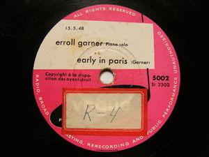 ERROL GARNER Vogue 5002 JAZZ 78 EARLY IN PARIS / THESE FOOLISH THINGS
