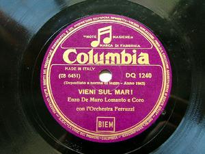 ENZO DE MURO LOMANTO Columbia DQ 1240 ITALIAN 78rpm