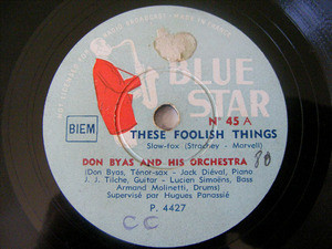 DON BYAS Blue Star 45 JAZZ 78rpm THESE FOOLISH THINGS