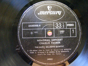 DIZZY GILLESPIE Memorial Concert Parker MERCURY 4563 LP