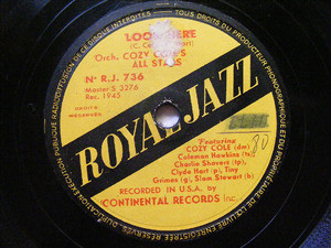 COZY COLE ALL STARS Royal Jazz 736 78rpm LOOK HERE