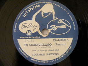 COLEMAN HAWKINS EmArcy 60000 JAZZ 78rpm IT'S WONDERFUL