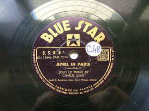 CHARLIE LEWIS Blue Star 8 JAZZ 78rpm APRIL IN PARIS