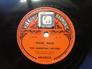 ANDREW SISTERS Harmonic MU60223 JAZZ 78rpm MORE BEER