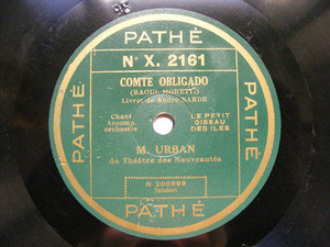 M. URBAN Pathe 2161 FRENCH 78rpm COMTE OBLIGADO