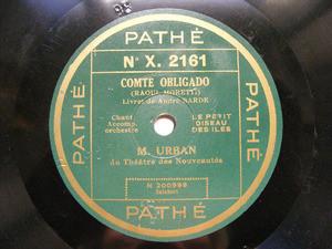 M. URBAN Pathe 2161 FRENCH 78rpm COMTE OBLIGADO