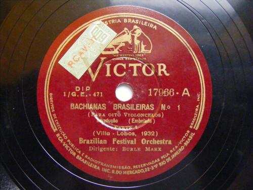 BURLE MARX BRAZILIAN FESTIVAL Victor 17966 EIGHT CELLOS 78 VILLA-LOBOS BACHIANAS