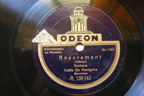 COBLA ELS MONTGRINS Odeon 138142 SPANISH 78 ANYORAMENT / LA SERRA DEL MONTGRI