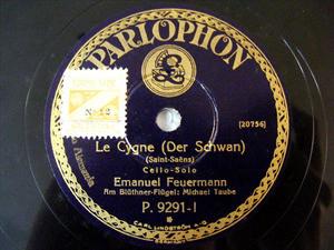 E. FEUERMANN Parlophon 9291 CELLO 78rpm GRANADOS/S-SAEN