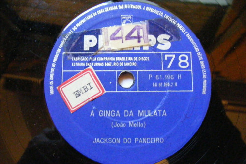 JACKSON DO PANDEIRO Philips 61196 BRAZIL 78 TWIST, NAO / A GINGA DA MULATA