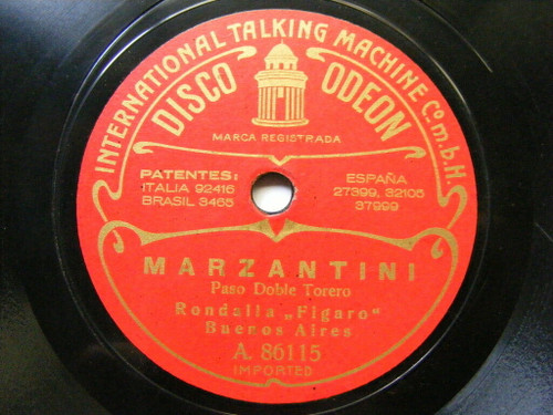 RONDALLA FIGARO BUENOS AIRES Early Odeon 86114/5 78rpm ARABE / MARZANTINI NM