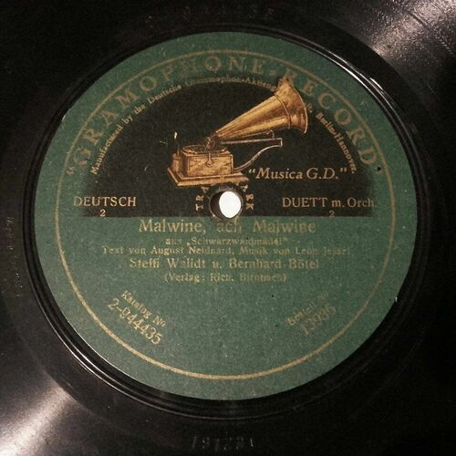 STEFFI WALIDT & BERNHARD BÖTEL Gramaphone 2-944434 78rpm MALWINE, ACH MALWINE