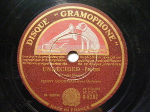 BENNY GOODMAN GRamophone 8282 JAZZ 78 UNDECIDED / WE'LL NEVER KNOW