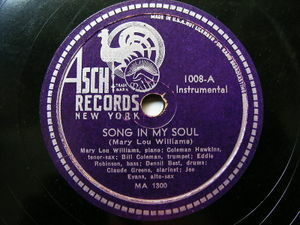 "12"" MARY LOU WILLIAMS Asch 1008 JAZZ 78 THIS AND THAT / SONG IN MY SOUL"