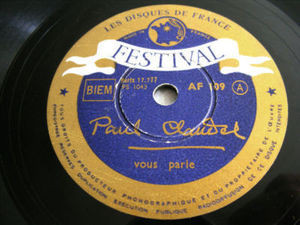 BARRAULT read PAUL CLAUDEL Rare FESTIVAL 109 POET 78rpm