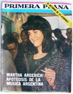 MARTHA ARGERICH 1965 PRIMERA PLANA Magazine Cover