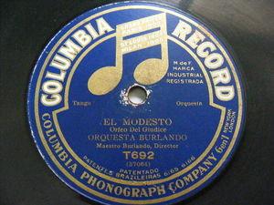 ORQUESTA BURLANDO Columbia T692 RARE TANGO 78 EL MODESTO / RECUERDO DE MIS TIEMP