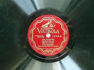 FRITZ KREISLER Scr Victrola 1244 VIOLIN 78rpm MALAGUEÑA / CANCION POPULARE EX
