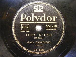 GABY CASADESUS Polydor 566250 PIANO 78 RAVEL Jeux D'Eau
