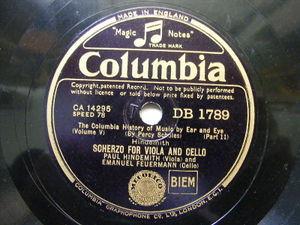 HINDEMITH & FEURMANN Columbia 1789 78rpm SCHERZO FOR VIOLA AND CELLO NM