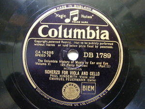 HINDEMITH & FEURMANN Columbia 1789 78rpm SCHERZO FOR VIOLA AND CELLO NM