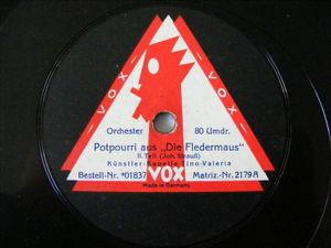 KUNSTLER-KAPELLE TINO VALERIA Vox 01837 78rpm Potpourri Aus Die Fledermaus