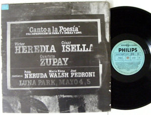VICTOR HEREDIA, ISELLA & ZUPAY Canto A La Poesia NERUDA 2xLP ARG. 1984