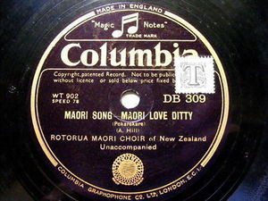 ROTORUA MAORI CHOIR Columbia DB309 78rpm THE WARRIORS
