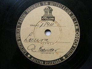 PETER KREUDER Odeon 17911 TEST PRESSING Argentina 78 LOCURA / SON TUS OJOS