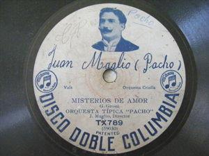 ORQUESTA PACHO Columbia 789 TANGO 78rpm TIS OJOS / MISTERIOS DE AMOR