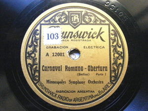 MINNEAPOLYS SIMPHONY ORCH Brunswick 120001 ARG 78 CARNAVAL ROMANO Ov