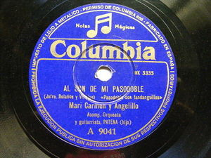 MARI CARMEN & ANGELILLO with PATENA Columbia 9041 78rpm AL SON DE MI PASODOBLE