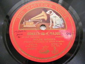 ISOLDE MENGES hmv D1371 VIOLIN 78 HANDEL Sonata