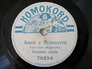 RONDALLA CRIOLLA Homokord 70254 SPANISH 78rpm AMOR Y PRIMAVERA