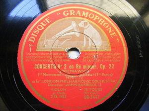 HEIFETZ & BARBIROLLI Gramophone 2447 VIOLIN 3x78 WIENIAWSKI