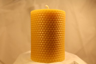 3x4 solid  ppbeeswax pillar with honeycomb pattern.