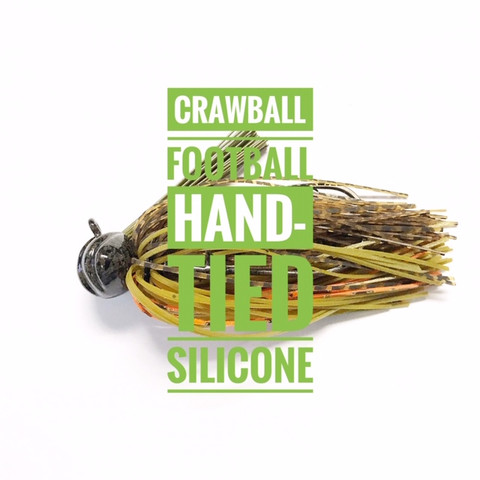 The Crawball silicone is a football style head that is scalloped like a craw fish's tail for a more realistic look. The Crawball silicone jig also boasts a  very durable hand-tied silicone  skirt that will last fish after fish. The colors were chosen to match a variety of forage all across the country. Tie one on and throw it in your favorite fishing hole you will not be disappointed.