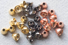 HMH Tungsten Coneheads for Tube Flies- Brass Gold, Black, Copper (pictured left to right)