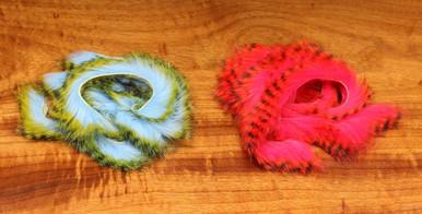 """Hareline Tiger Barred Rabbit Strips- 1/8"""" (Black Key Lime Baby Blue, Black Alaska Flame)"""