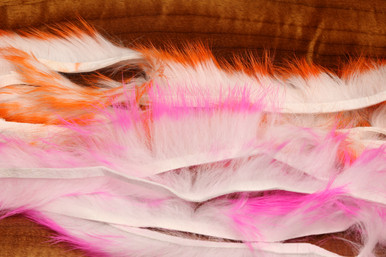 "Hareline Two Toned Crosscut Rabbit Strips 1/8"" (Top- Hot Orange Tipped White; Bottom- Hot Pink Tipped White)"