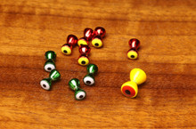 Hareline Pseudo Eyes (Top- Anodized Red/Yellow Eye, Anodized Green/White Eye, Painted Yellow/Red Eye)