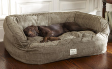 Orvis Lounger Comfortfill Eco Dog Bed- Medium (Dogs Up To 60lbs.)- Brown Tweed