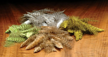 Grizzly Mini Marabou Feathers- Natural (top), Olive (right), Tan (bottom)