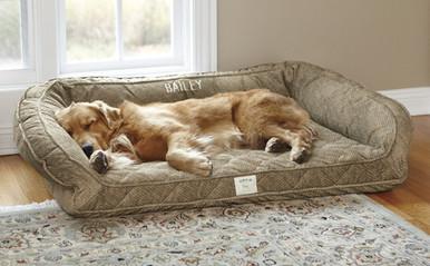 Orvis Deep Dish Dog Bed with Memory Foam- Brown Tweed
