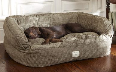Orvis Lounger Comfortfill Eco Dog Bed- Large Brown Tweed