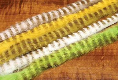 Hareline Olive Barred Rabbit Strips (Left to Right- Flesh, Yellow, Lt. Olive, White and Chartreuse)