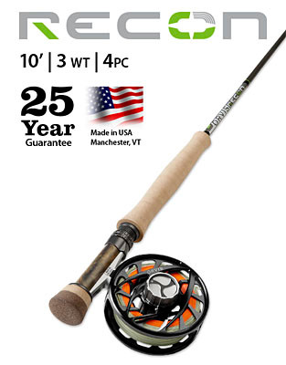 ORVIS RECON 3-WEIGHT 10' 4-PIECE FLY ROD (Complete Outfit)