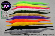 Mangum's UV2 Dragon Tails (Top to Bottom- Flo Green Chart., Flo. Yellow, White, Olive, Tan, Purple, Flo. Orange, Mustard, Black, Gray)